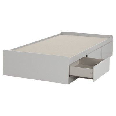 Reevo Mates Bed with 3 Drawers - Twin - Soft Gray - South Shore