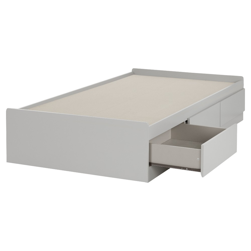 Reevo Mates Bed With 3 Drawers Twin Soft Gray South Shore