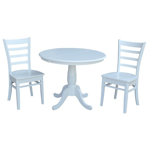 36 Bill Round Extension Dining Table With Emily Chairs Set White International Concepts