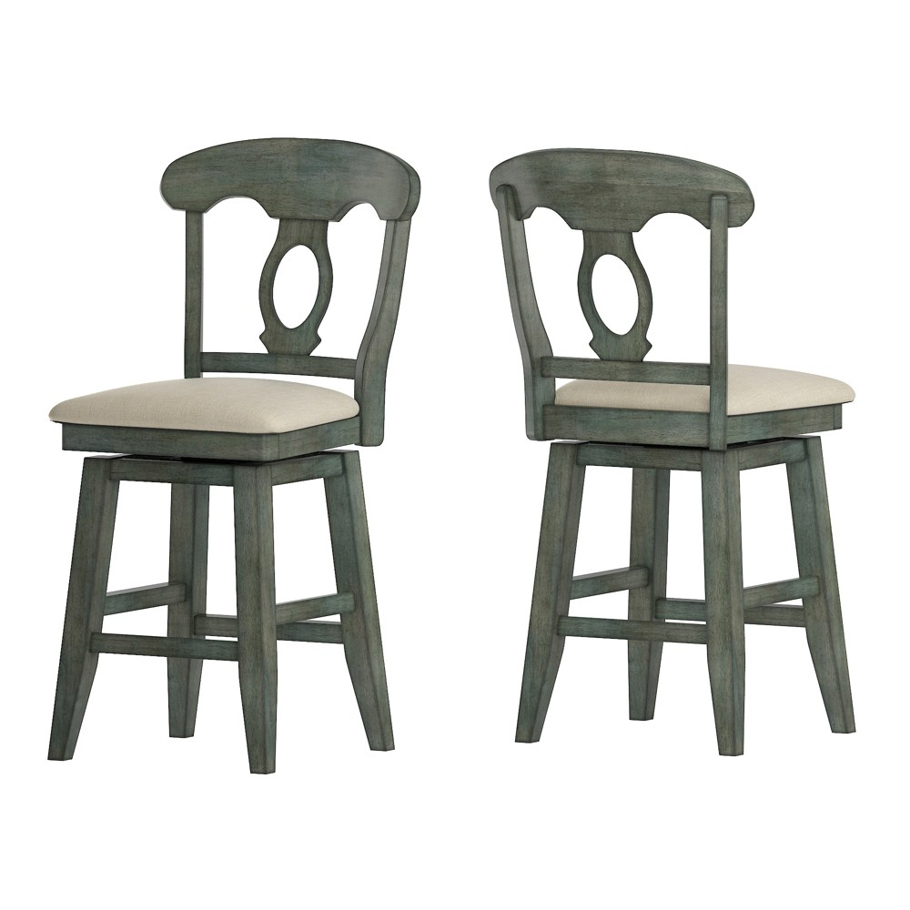 """Image of """"24"""""""" South Hill Napoleon Back Swivel Counter Height Chair Aqua - Inspire Q"""""""