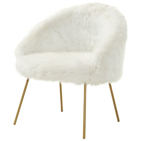 Anthony White Faux Fur Accent Chair - Metal Legs - Upholstered in White - Posh Living - image 1 of 3