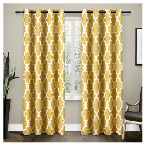 Set of 2 Ironwork Sateen Woven Room Darkening Window Curtain Panels - Exclusive Home - image 1 of 4