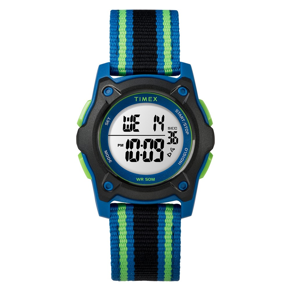 Image of Kid's Timex Digital Watch With Striped Strap - Black TW7C26000XY, Adult Unisex, Size: Small