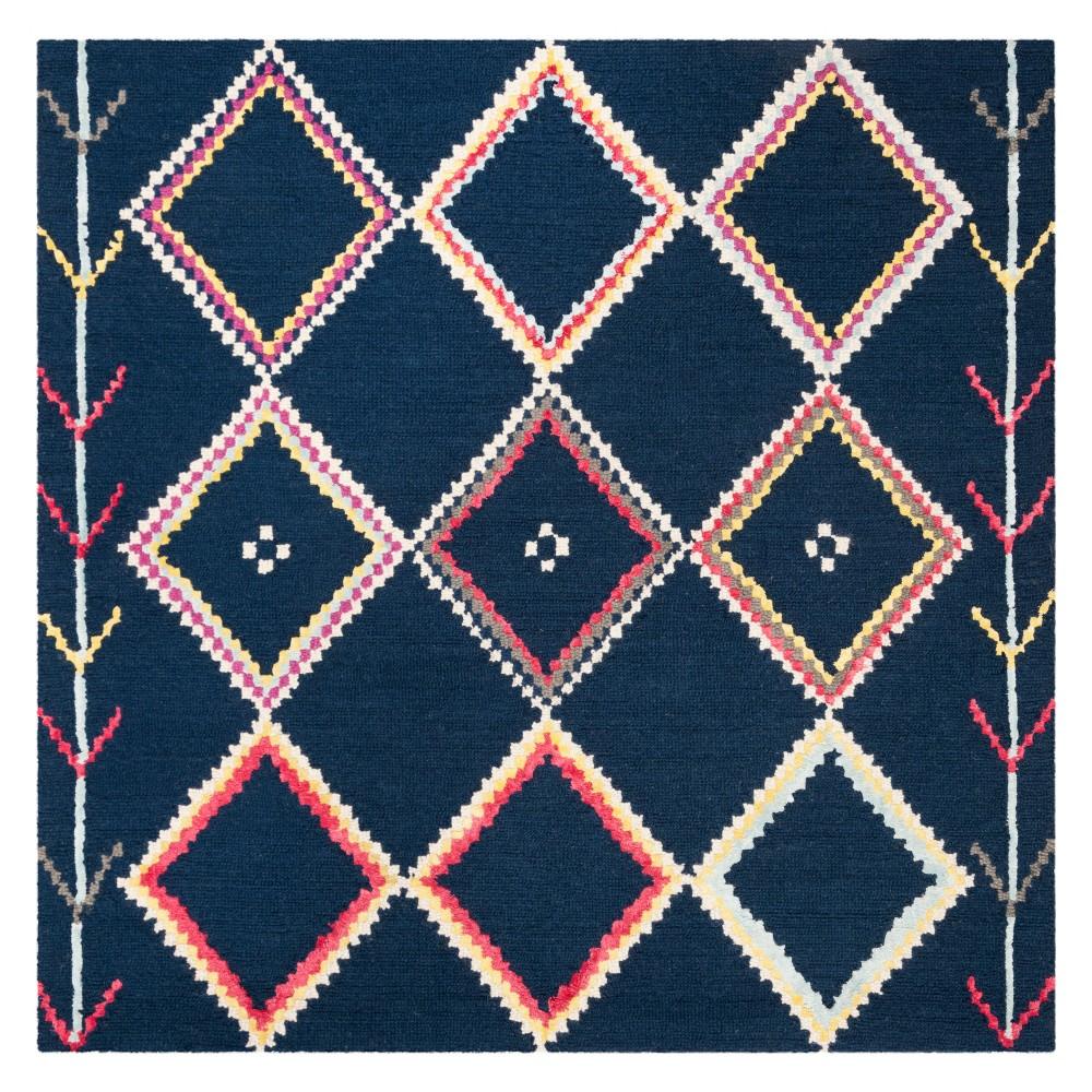 5'X5' Geometric Tufted Square Area Rug Navy - Safavieh, Blue/Multi-Colored