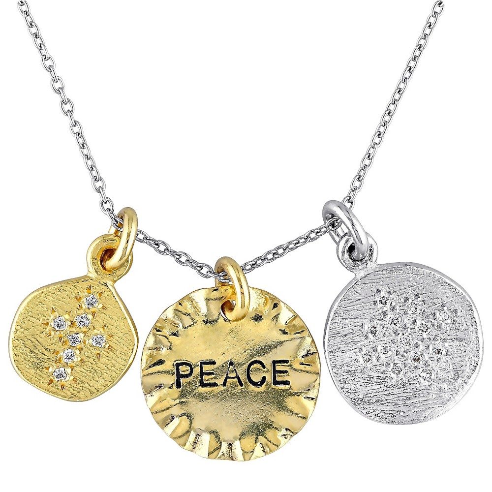 Image of 0.2 CT. T.W. Cubic Zirconia Pendant Peace Charms Necklace in Sterling Silver - Gold/Silver, Women's, Gold Silver