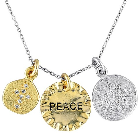 0.2 CT. T.W. Cubic Zirconia Pendant Peace Charms Necklace in Sterling Silver - Gold/Silver - image 1 of 1
