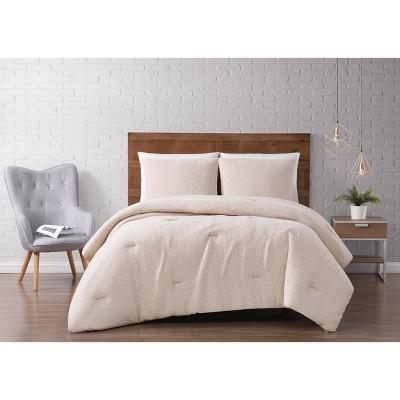 King 3pc Solid Woven Matelasse Comforter Set Natural - Brooklyn Loom