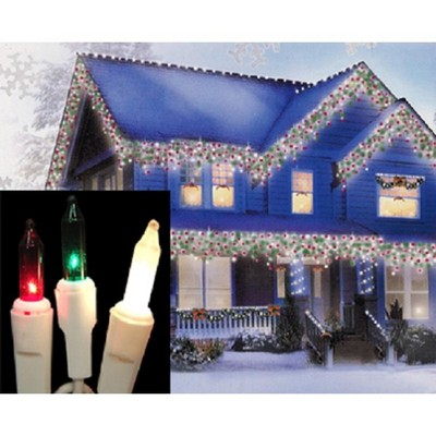 J. Hofert Co 100 Red, Green and Frosted Clear Everglow Icicle Christmas Lights - White Wire