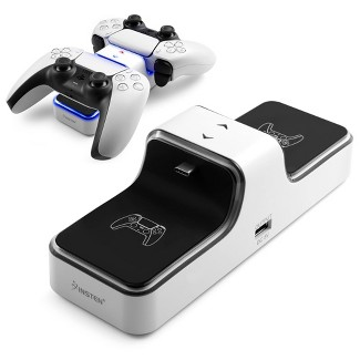 Insten - Controller Charger Station Compatible With Sony Playstation PS5 Controller, LED Indicator, Dual Charge, White : Target
