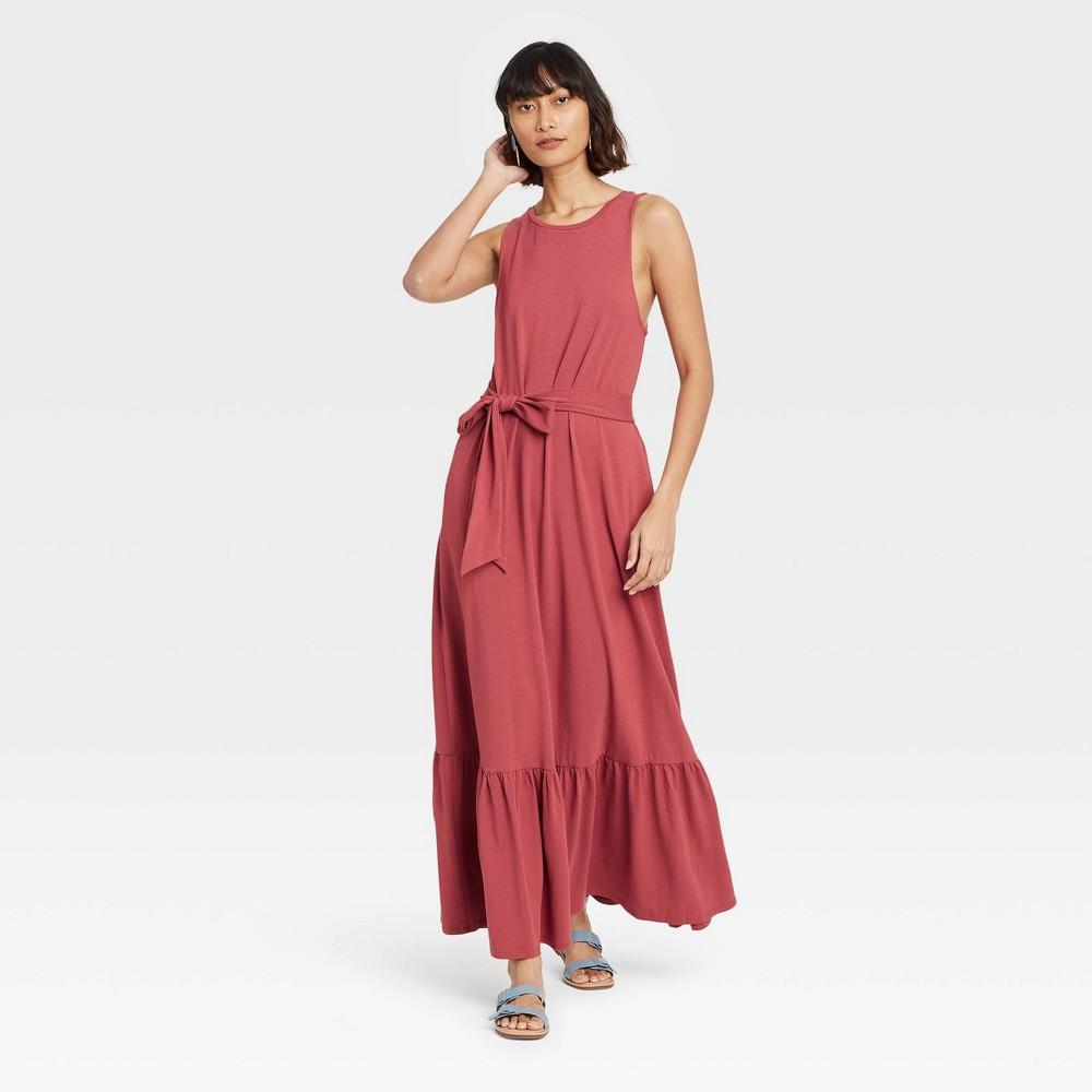 Women 39 S Sleeveless Ruffle Hem Dress A New Day 8482 Dark Pink Xs
