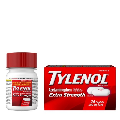 Tylenol Extra Strength Pain Reliever and Fever Reducer Caplets - Acetaminophen - image 1 of 4