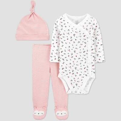 Baby Girls' 3pc Floral Side Snap Top and Bottom Set - Just One You® made by carter's Pink 3M