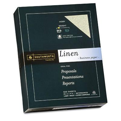 Southworth 25% Cotton Linen Business Paper Ivory 24 lbs. 8-1/2 x 11 500/Box FSC 564C