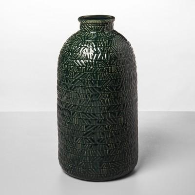 14.1  x 7.2  Stoneware Textured Vase Green - Opalhouse™