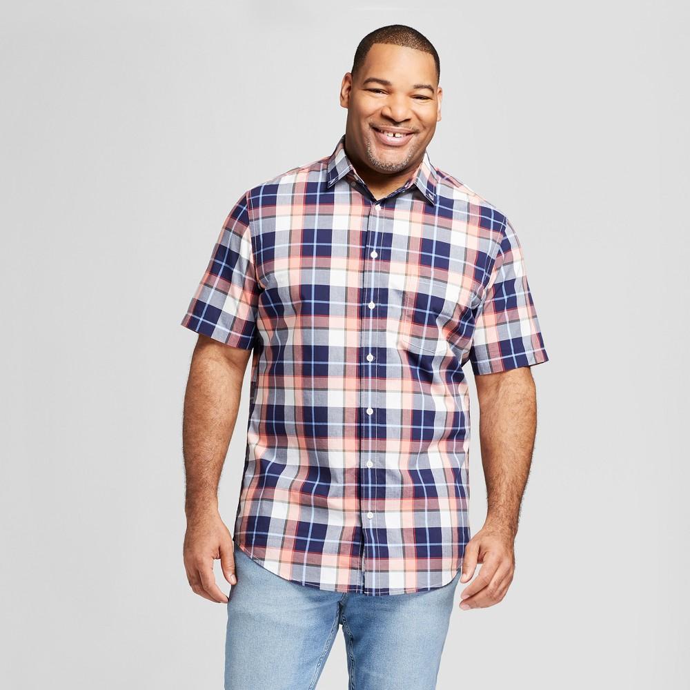 Men's Big & Tall Plaid Standard Fit Poplin Short Sleeve Button-Down Shirt - Goodfellow & Co Peach (Pink) 2XB
