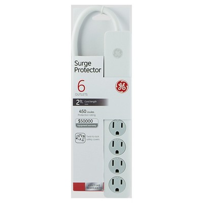 GE 6 Outlet Surge Protector, 450 Joules 2ft. Cord - White