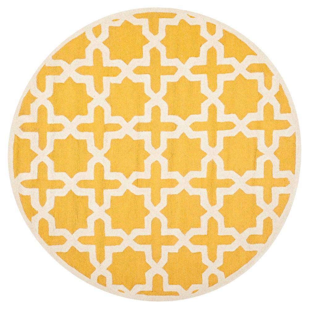 Marnie Texture Wool Rug - Gold / Ivory (6' X 6' Round) - Safavieh, Gold/Ivory