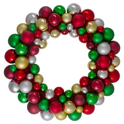 Northlight Traditional Colored 2-Finish Shatterproof Ball Christmas Wreath - 24-Inch, Unlit