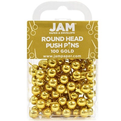 JAM Paper 100pk Colorful Round Head Push Pins - Gold