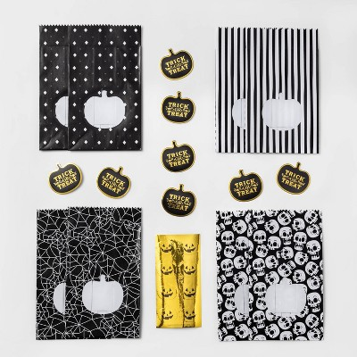8ct Black/White Mini Treat Bag with Stickers Halloween Party Favors - Hyde & EEK! Boutique™
