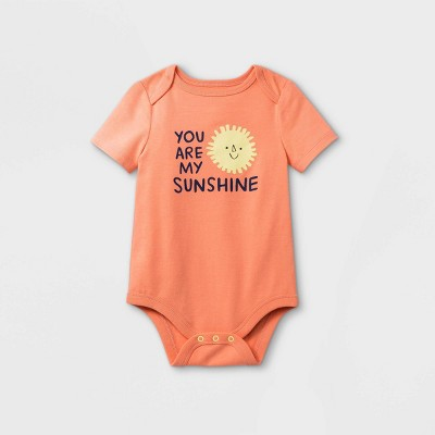 Baby 'You Are My Sunshine' Short Sleeve Bodysuit - Cat & Jack™ Pastel Peach 3-6M