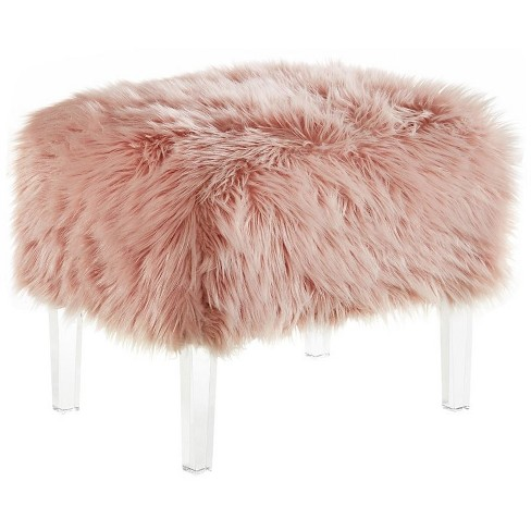 Charlie Pink Faux Fur Ottoman - Modern Acrylic Legs - Upholstered in Pink - Posh Living - image 1 of 3