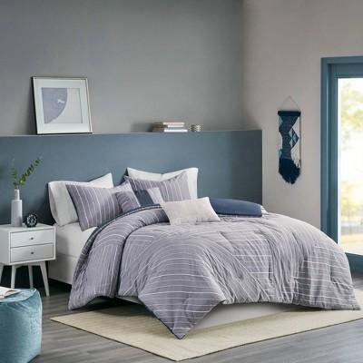 Bryce Full/Queen 5pc Cotton Rich Chambray Comforter Set Indigo