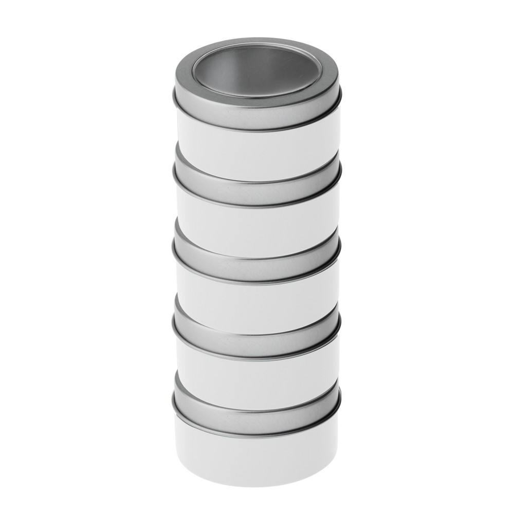 5pk Magnetic Metal Container Silver - Bullseye's Playground