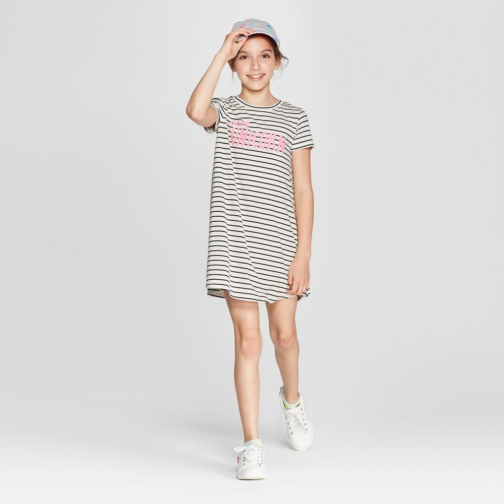 Grayson Social Girls' 'Part Unicorn' Striped T-Shirt Dress - Ivory/Black L, Beige