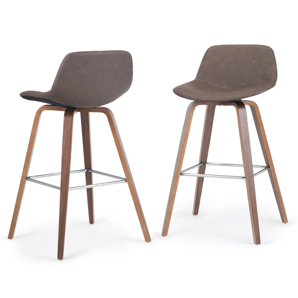 Set Of 2 Cacey Bentwood Counter Height Stool Distressed Chocolate Brown Wyndenhall