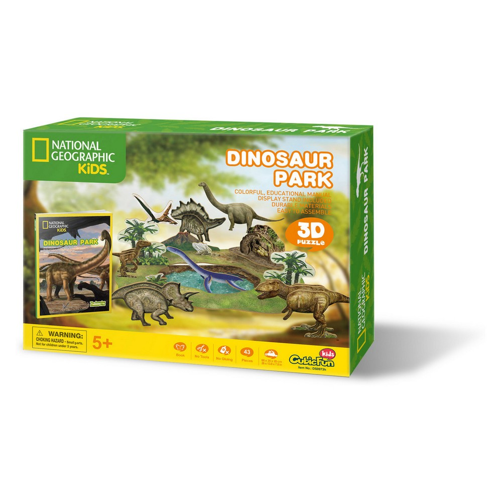 National Geographic Dinosaur Park 43pc 3D Puzzle Fun and educational National Geographic 3D puzzles that provide kids the ability to build one of six different 3D puzzles and then display and play with their creations. Kids can also read about each puzzle theme with an enclosed full color booklet (approximately 30 pages). All puzzles are made of sturdy, quality foam core and include easy to understand instructions. Available sets include animals (Amazon Rain Forest, Undersea Adventure, Dinosaurs, and African Wildlife) and Space (Space Exploration and Space Mission). Ages 5 and up. Gender: Unisex.