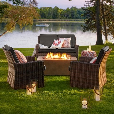 Halsted 4pc Wicker Patio Fire Chat Set - Charcoal - Threshold™