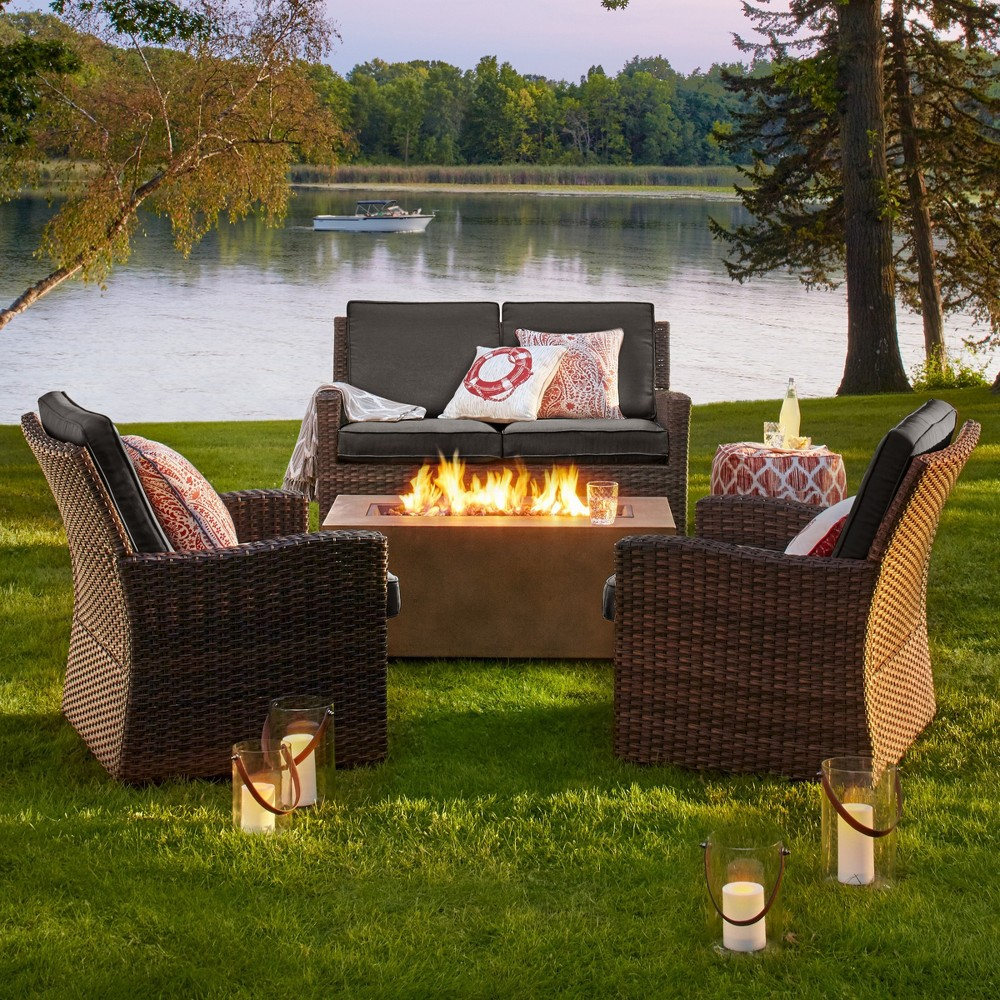 Halsted 4pc Wicker Patio Fire Chat Set - Charcoal (Grey) - Threshold