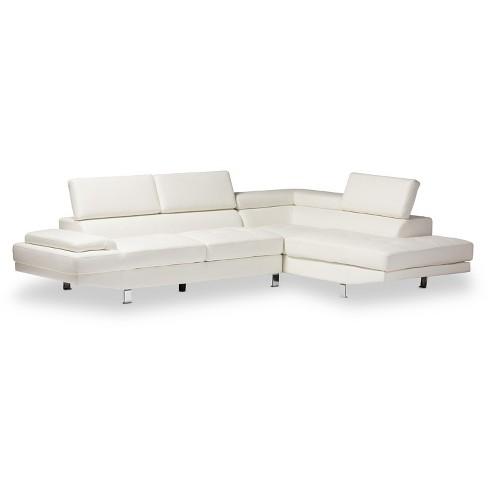 Incredible Selma Leather Modern Sectional Sofa White Baxton Studio Inzonedesignstudio Interior Chair Design Inzonedesignstudiocom