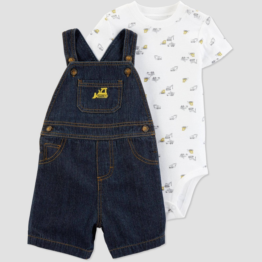 Baby Boys' 2pc Construction Shortall Set - Just One You made by carter's Blue/White 3M