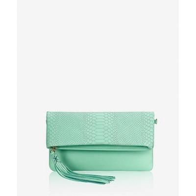 GiGi New York Blue Stella Foldover Clutch Bag