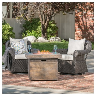 Avondale 3pc All-Weather Wicker Patio Chair Set w/ Fire Pit - Dark Brown - Christopher Knight Home