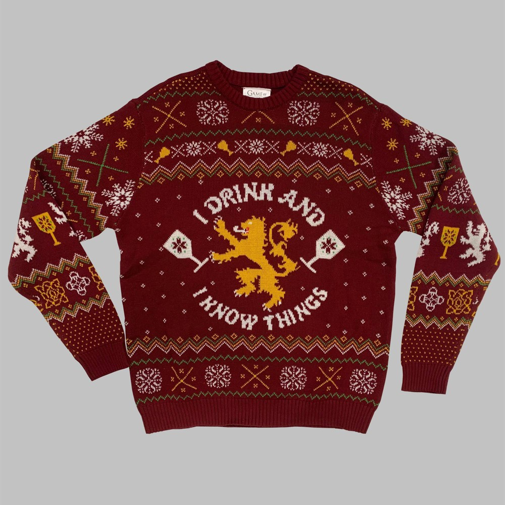 Image of Men's Game of Thrones I Drink & I Know Things Crewneck Ugly Sweater - Red L, Men's, Size: Large