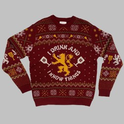 Men's Game of Thrones I Drink & I Know Things Crewneck Ugly Sweater - Red
