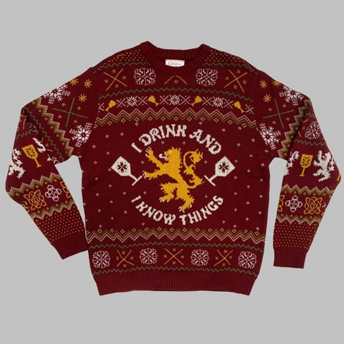 Men's Game of Thrones I Drink & I Know Things Crewneck Ugly Sweater - Red - image 1 of 1