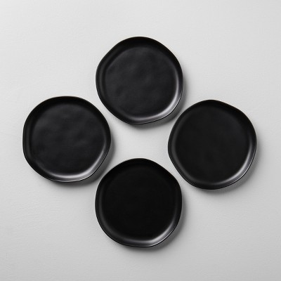 4pk Stoneware Salad Plate Black - Hearth & Hand™ with Magnolia