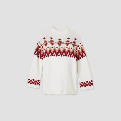 Maternity Printed Mock Turtleneck Fair Isle Pullover Sweater - Isabel Maternity by Ingrid & Isabel™ White/Pink L
