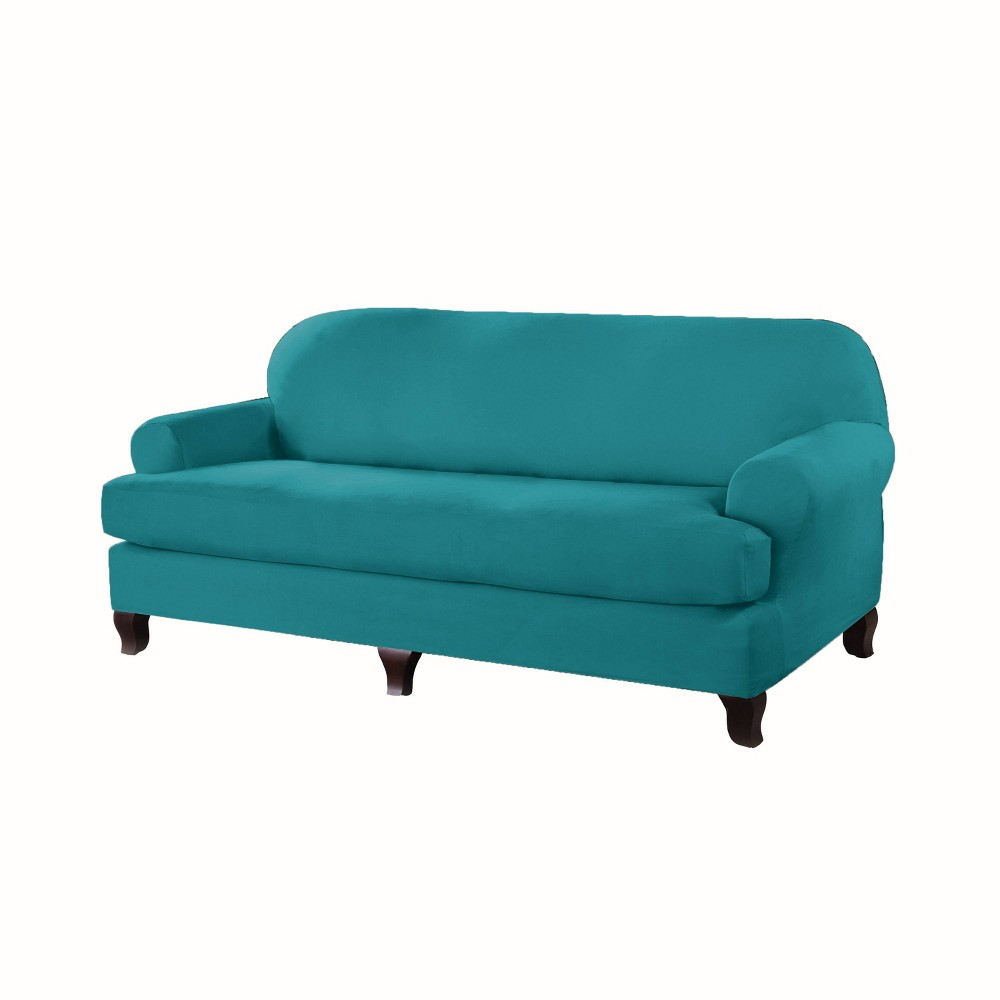 Image of Sofa T Stretch Fit Slipcover Aqua - Serta, Blue