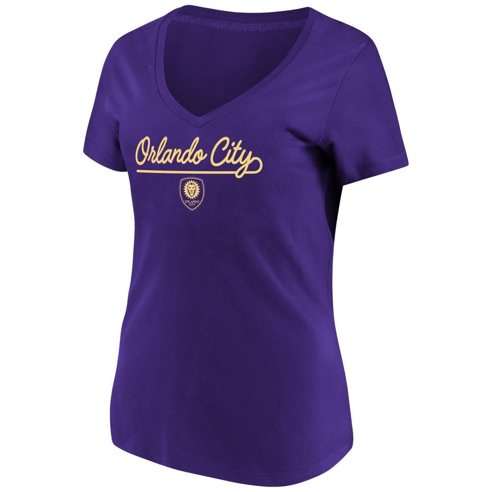 Mls Women's Short Sleeve V-Neck T-Shirt Orlando City SC - XL, Multicolored