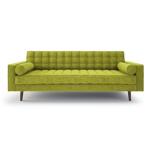 Lacey Mid Century Modern Button Tufted Sofa - Green - Aeon