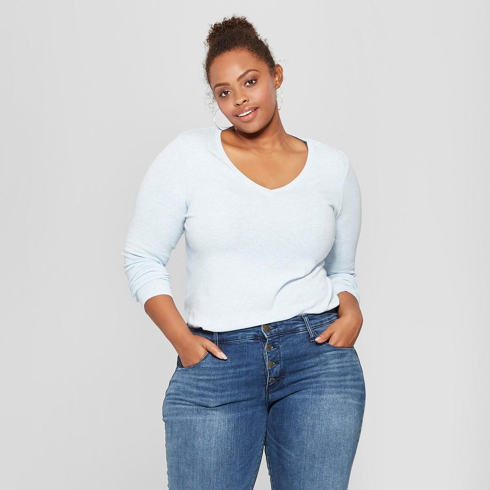 Women's Plus Size Long Sleeve V-Neck T-Shirt - Ava & Viv Light Blue Heather 4X
