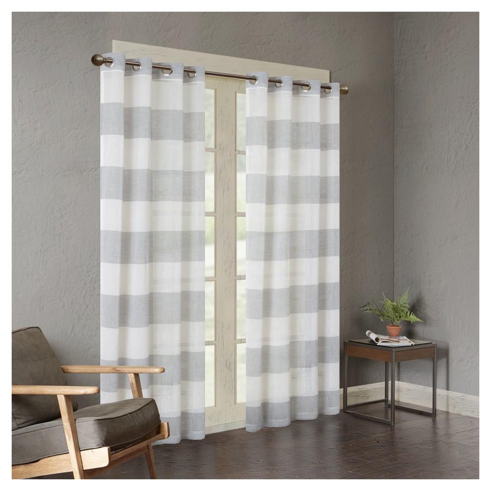 63 34 X50 34 Elliot Yarn Dyed Woven Sheer Window Curtain Panel Gray
