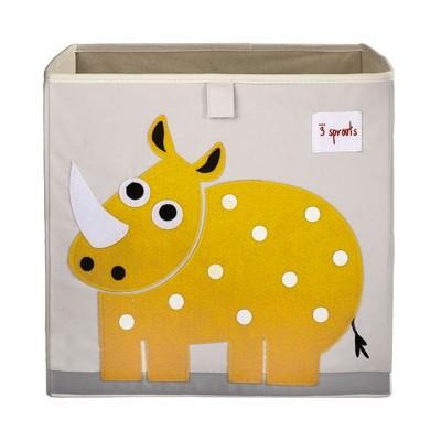 3 Sprouts Large 13 Inch Square Children's Foldable Fabric Storage Cube Organizer Box Soft Toy Bin, Yellow Rhino