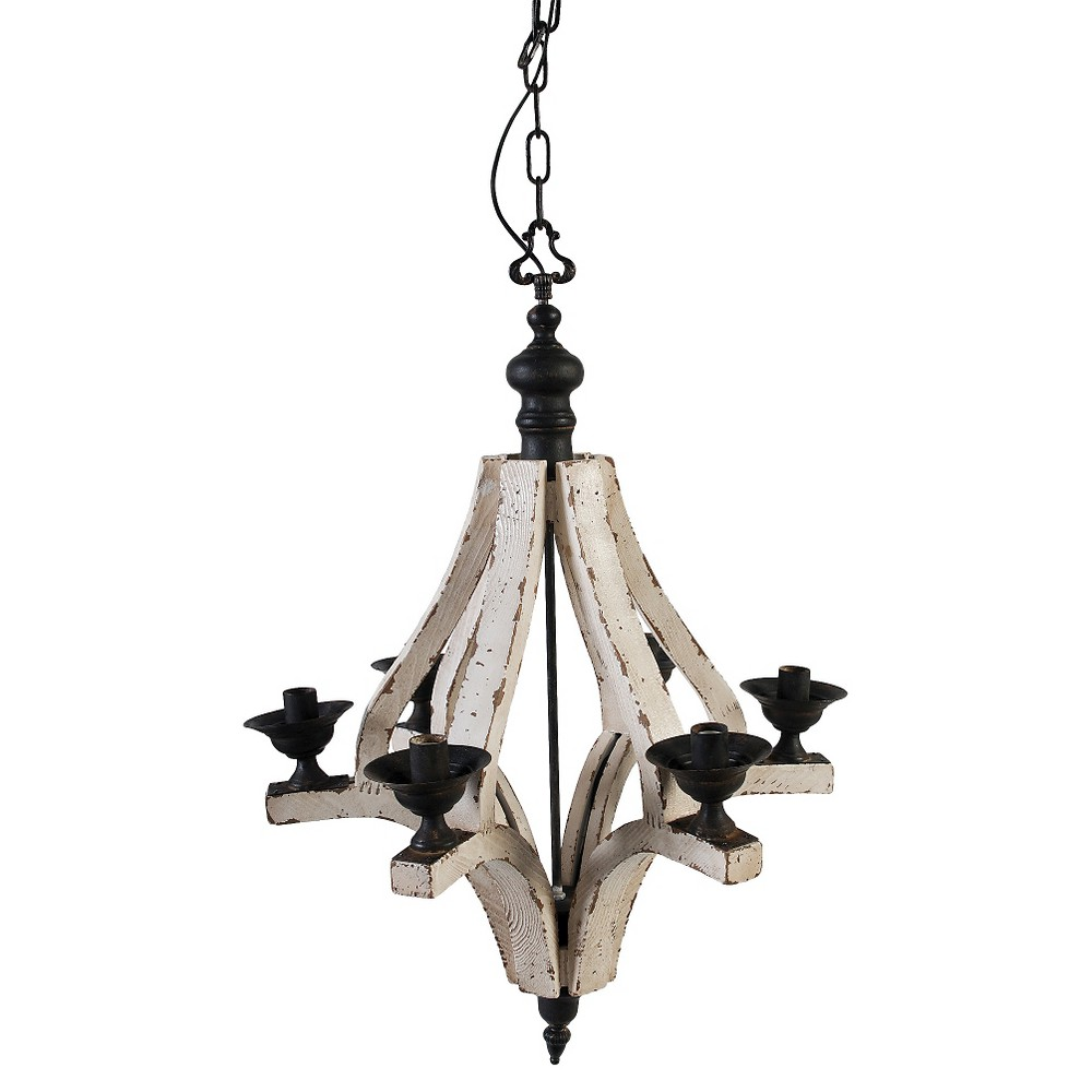 Image of A&b Home Wood Chandelier - Off White, Silver