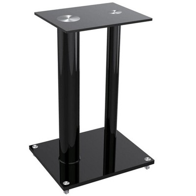 Monoprice Glass Floor Speaker Stands (Pair) - Black, Support Up to 22 Lbs. (10 Kg) Weight, Constructed of Tempered Glass W/ Aluminum Vertical Supports